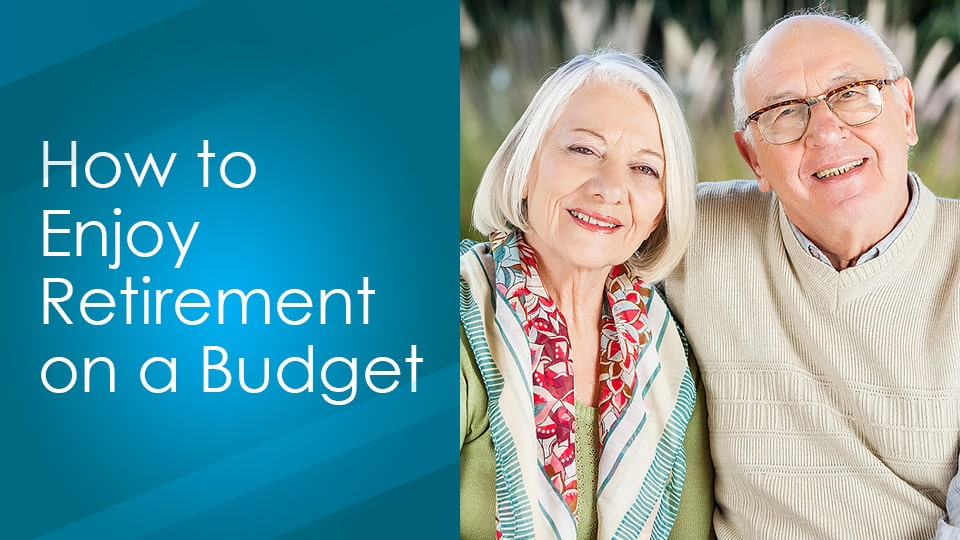 A man and woman senior citizen smile while enjoying retirement on a budget