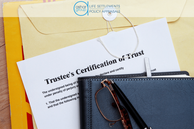 image of a trustee's certification of trust with leather binder and glasses