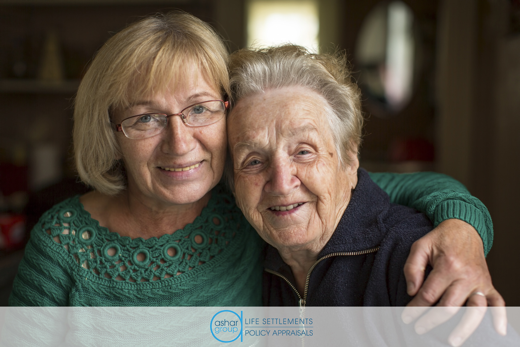 Portrait of woman with her senior mother age 100, who may have her life insurance policy canceled