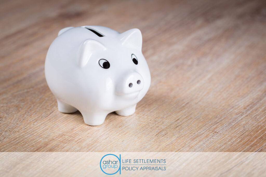 empty white piggy bank representing value lost in lapsed life insurance policies