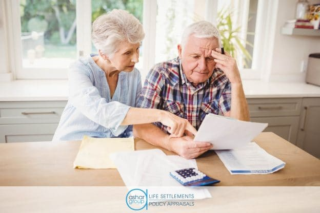 Stressed senior couple worrying about life insurance premium going up in need of life settlement