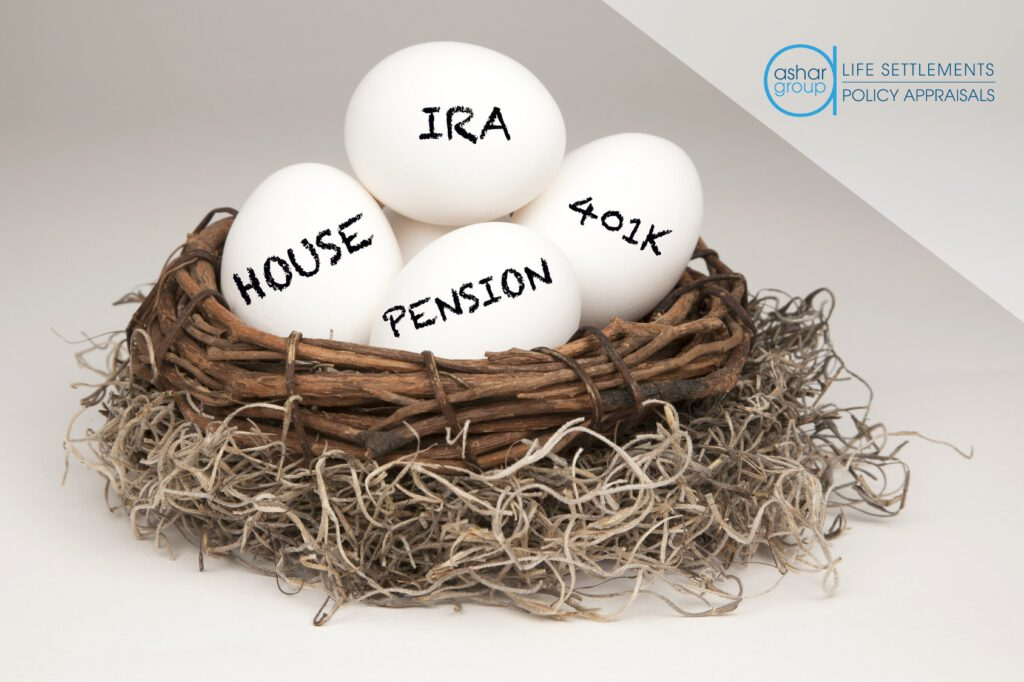 image of retirement nest egg concept with bird's nest and four eggs inside representing retirement savings