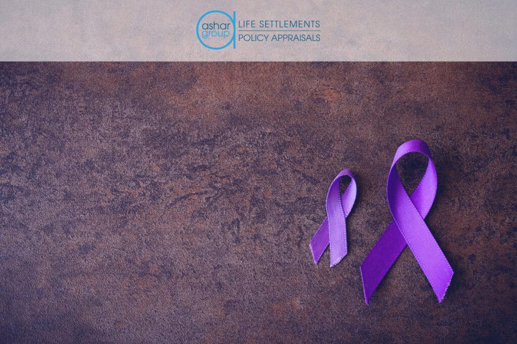 Purple ribbons on purple background for Alzheimer's awareness