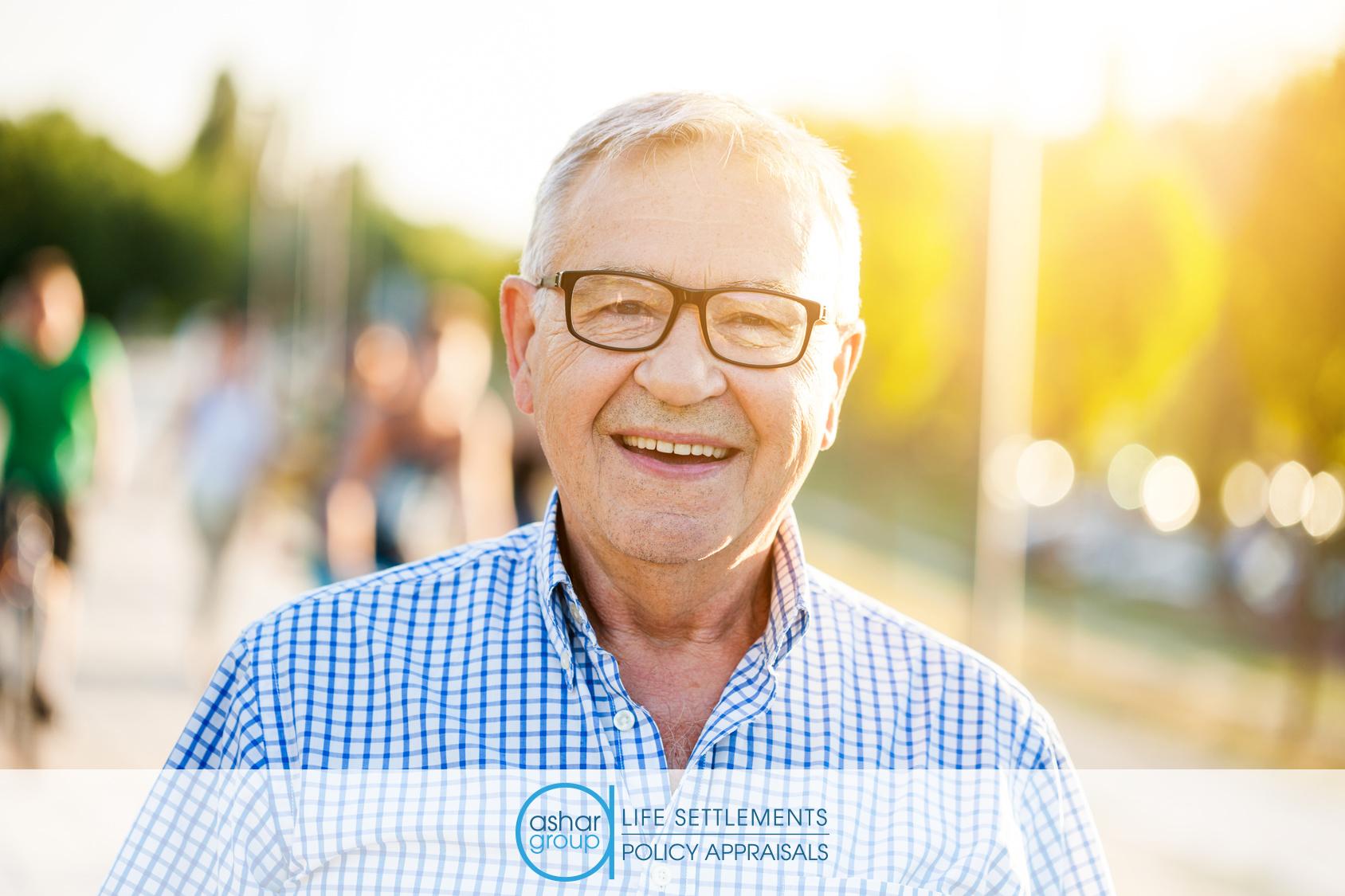 Smiling retired man on suburban street
