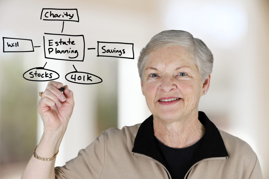 Retired woman deciding how to divide her money including giving
